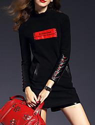 Tee-shirt Femme,Lettre Décontracté / Quotidien Vintage Automne Manches Longues Col Arrondi Noir Polyester Moyen