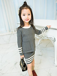 Girl's Casual/Daily Solid Sweater & Cardigan / Clothing SetAcrylic Spring / Fall Gray