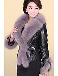 Women's Casual/Daily Simple Fur Coat,Solid Long Sleeve Winter Red / Black Fox Fur