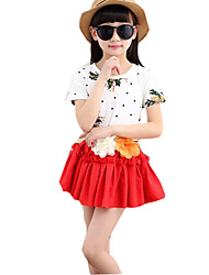 Girl's Casual/Daily Floral Dress / Clothing SetCotton / Linen Summer Green / Red