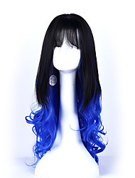 1b/bule Color Long Curly Wigs Capless Synthetic Wigs For Afro Women