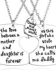 Necklace Non Stone Pendant Necklaces Jewelry Thank You Party Daily Valentine Heart Unique Design Heart Alloy Women Men Couples 1set Gift