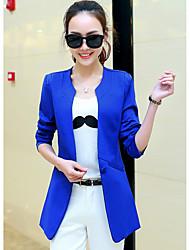 Damen Solide Einfach Ausgehen Blazer,Rundhalsausschnitt Frühling / Sommer Langarm Blau / Rosa / Schwarz / Orange Polyester Undurchsichtig