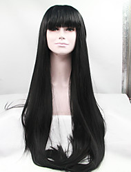 Sylvia Synthetic Lace front Wig Natural Black Heat Resistant Long Straight With Bangs Synthetic Wigs For Black Women