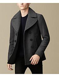 Men's Casual/Daily Simple Coat,Solid Shirt Collar Long Sleeve Fall / Winter Blue / Gray Wool Medium