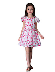 Girl's Casual/Daily Print DressCotton Summer Blue / Pink