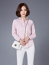Sign autumn new models Korean version was thin minimalist loose double pocket POLO collar long-sleeved cotton shirt female casual shirt