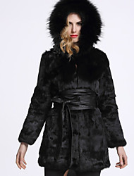 BF-Fur Style Women's Casual/Daily Sophisticated Fur CoatSolid Hooded Long Sleeve Winter Black Rabbit Fur / Fox Fur