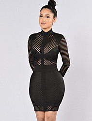 Women's Club Sexy Bodycon See-through DressPatchwork Mesh Crew Neck Above Knee Long Sleeve Mid Rise Micro-elastic