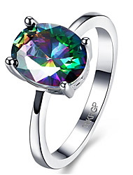 Hot Sale Luxury Women Engagement Jewelry White Gold Plated ZC Rainbow Color Stone Crystal Zircon finger ring