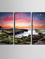 E-HOME® Stone Beach Clock in Canvas 3pcs