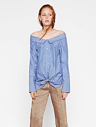 Women's Going out Sexy All Seasons Shirt,Striped Boat Neck Long Sleeve Blue Cotton / Polyester Medium