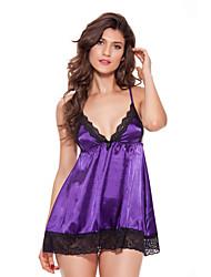 Plus Size Women Ice Silk Lingerie / Ultra Sexy / Suits Nightwear Solid-Thin Spandex Condole Belt Underwear