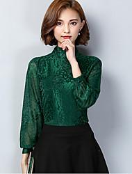 Damen Solide Einfach Lässig/Alltäglich T-shirt,Ständer Herbst Langarm Rot / Schwarz / Grün Nylon Mittel