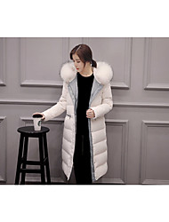 Women's Long Down Coat,Simple Casual/Daily Solid-Cotton Polypropylene Long Sleeve Hooded White / Black