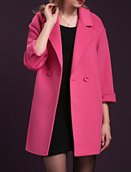 Women's Casual/Daily Simple Coat,Solid Shawl Lapel Long Sleeve Fall / Winter Pink / Red / Yellow Polyester Thick