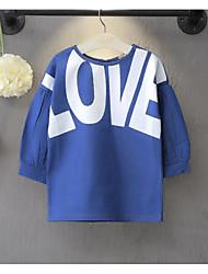 Robe / Tee-shirts Fille de Imprimé Décontracté / Quotidien Coton Printemps / Automne Bleu