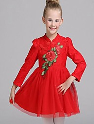 Girl's Casual/Daily Floral DressCotton Spring / Fall Pink / Red