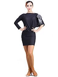 Dança Latina Vestidos Actuação Fibra de Leite Padrão/Estampado 1 Peça Vestidos 74cm-75cm