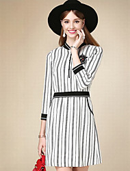 Women's Casual/Daily Simple A Line Dress,Striped Crew Neck Above Knee Long Sleeve White Cotton Fall High Rise Inelastic Thin