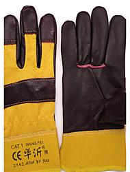 Dark Yellow Cloth Sub-Palm Short Leather Half-Leather Gloves