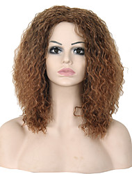 Fashional Yellow Color Medium Long Fluffy Wavy Synthetic Wig Caps For Women