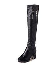 Women's Boots Winter Platform PU Casual Chunky Heel Platform Split Joint Black Walking