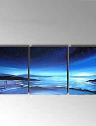 Hand-Painted Abstract blue Seascape Oil Painting For Home Decoration Stretched Frame Ready To Hang