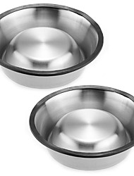 2x15cm Pet Dog Cat Puppy Feeding Feeder Food Bowl Water Dish  Stainless Steel