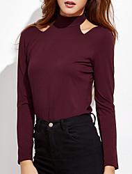 Damen Solide Einfach Lässig/Alltäglich T-shirt,Rundhalsausschnitt Sommer Langarm Rot / Weiß Polyester Mittel