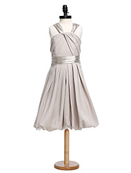 2017 Lanting Bride® Knee-length Charmeuse Junior Bridesmaid Dress A-line Straps with Sash / Ribbon