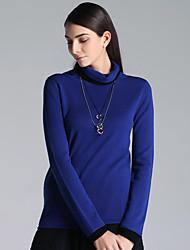 Mujer Regular Cardigan Casual/Diario Simple,Un Color Azul Cuello Alto Manga Larga Lana Otoño / Invierno Grueso Microelástico