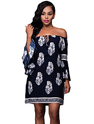 Women's Navy Blue Floral Print Off-shoulder Bell Sleeves Shift Dress