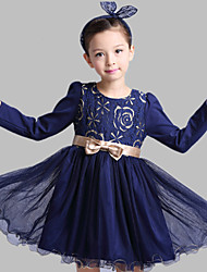 A-line Short / Mini Flower Girl Dress - Cotton / Tulle Long Sleeve Jewel with Bow(s) / Pattern / Print