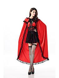 Fantasias de Cosplay Rainha Cosplay de Filmes Vermelho Cor Única Vestido / Xale Dia Das Bruxas / Carnaval Feminino Poliéster