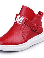 Girl's Boots Fall Winter Comfort Snow Boots PU Casual Dress Flat Heel  Black Red Gray Walking