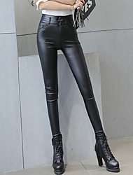 Women's Solid Black Plus Velvet Thickening Skinny Pants Sexy / Street chic Casual High Waist Fashion Slim Thin Winter PU