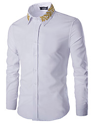 Brand Fashion Men's Casual/Daily Simple Spring / Fall ShirtSolid / Embroidered Shirt Collar Long Sleeve White / Black