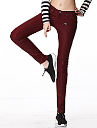 Women's Solid Red / Black Jeans Pants,Street chic All Seasons