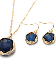 New Luxury wedding jewelry sets for women 4 color necklaces&pendants round earrings for girls  gold plated NecklaceEarring