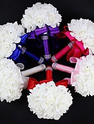 """Wedding Flowers Round Roses Bouquets Wedding Satin Foam Rhinestone 7.09""""(Approx.18cm)"""