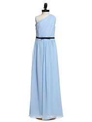 LAN TING BRIDE Floor Length Chiffon Junior Bridesmaid Dress Sheath / Column One Shoulder Natural with Bow(s) Sash / Ribbon Side Draping -