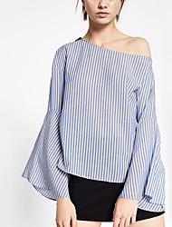 Women's Casual/Daily Simple Fall Shirt,Striped Boat Neck Long Sleeve Blue Polyester Thin