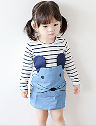 Girl's Casual/Daily Striped DressCotton Fall Blue