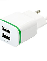 High Quality EU Plug 2.0A/1.0A Wall Charger Mini Dual Ports USB LED Light Fast Charging Power Adapter