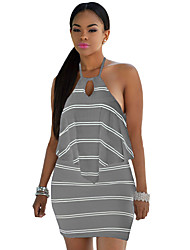 Women's Layered Ruffle Striped Grey Halter Mini Dress