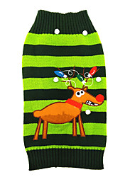 Cat Dog Sweater Dog Clothes Winter Reindeer Cute Christmas Green