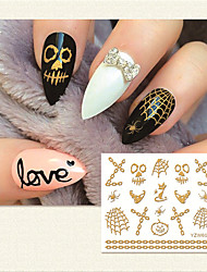 Deluxe Gold Lace Halloween Spider Web 3D Nail Sticker