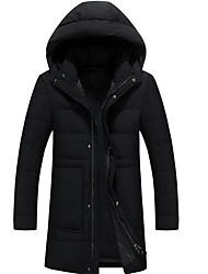 Пальто Простое Обычная Пуховик Мужчины,Однотонный На каждый день Полиэстер Пух белой утки,Длинный рукав Черный