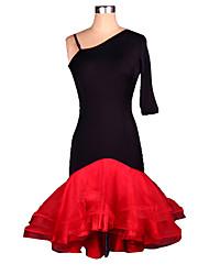 Latin Dance Dresses Women's Performance Training Spandex Crepe Ruched 1 Piece Half Sleeve Dress S-4XL:95